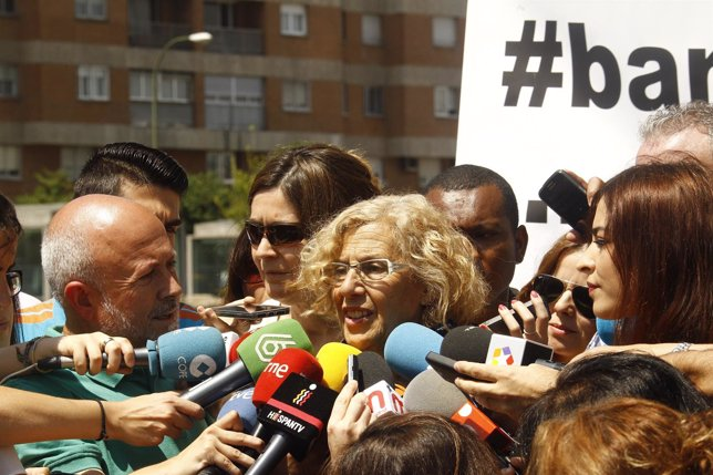 Manuela Carmena tras hablar con el presidente de Bankia