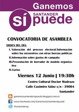 Cartel de la asamblea de Ganemos Santander