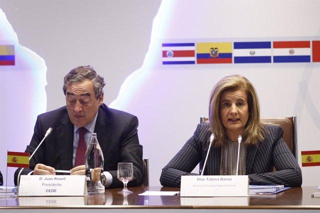 Fátima Báñez y y Juan Rosell en la sede de la CEOE