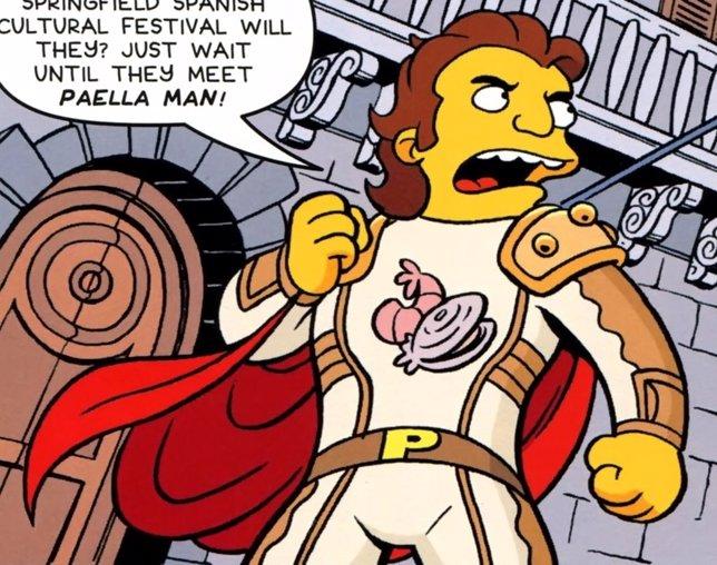 El superhéroe español Paella Man en Los Simpson