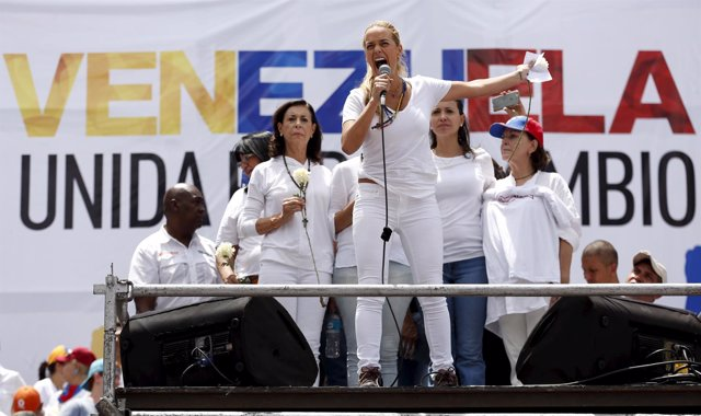Tintori, wife of jailed Venezuelan opposition leader Lopez, speaks during a rall