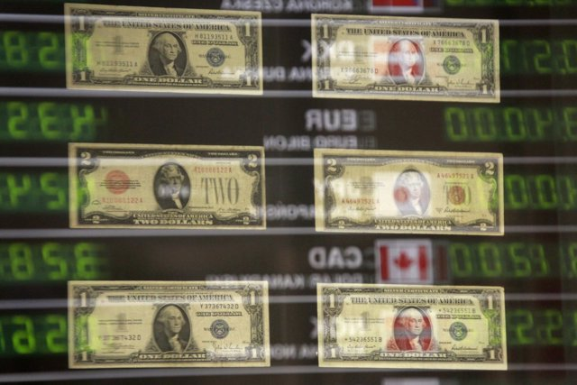 U.S. Banknotes are seen at currency exchange office in Warsaw