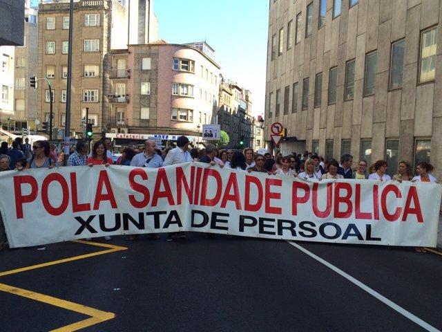 Manifestación contra el cierre de camas