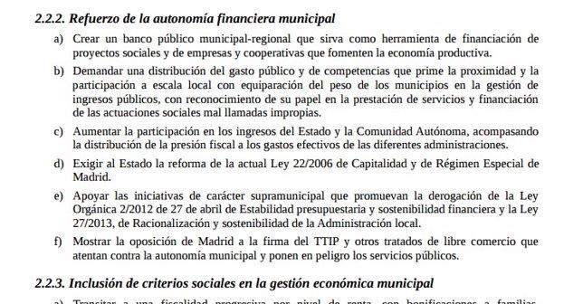 Párrafo del programa de Ahora Madrid que habla de creación de un banco público