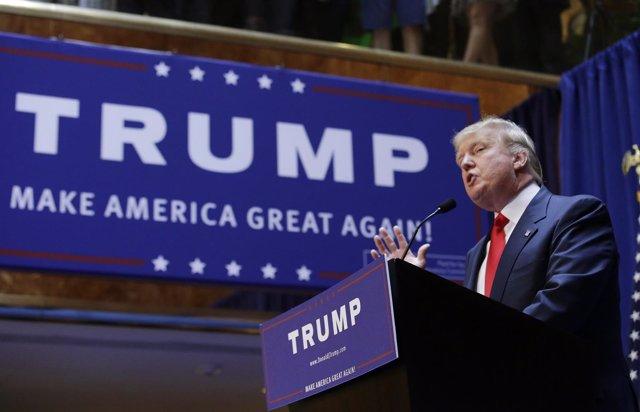 El empresario estadounidense Donald Trump anuncia su candidatura