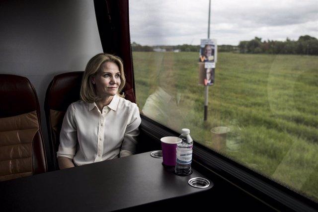 La primera ministra danesa, Helle Thorning-Schmidt, durante la campaña electora