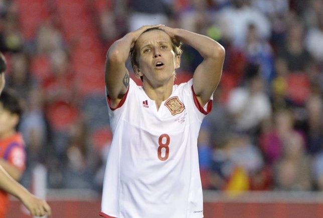 Sonia Bermúdez se lamenta en el España-Corea del Mundial femenino
