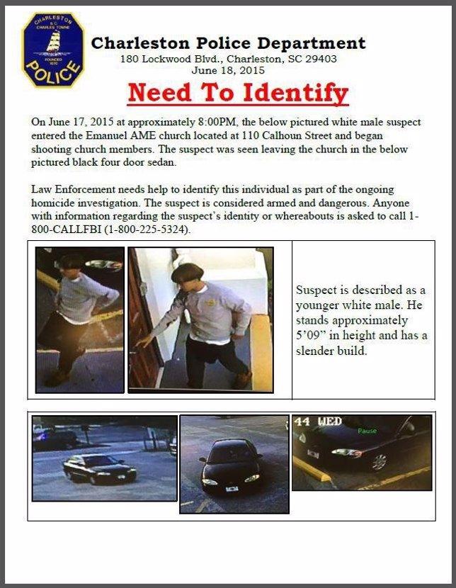 Ficha distribuida por la Policía de Charleston