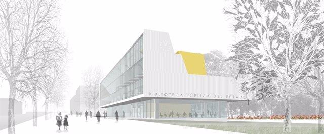 Recreación del proyecto de la Biblioteca Pública del Estado.