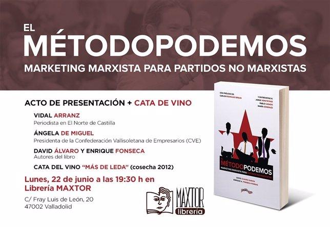 Cartel de presentación de 'El método Podemos' en Valladolid