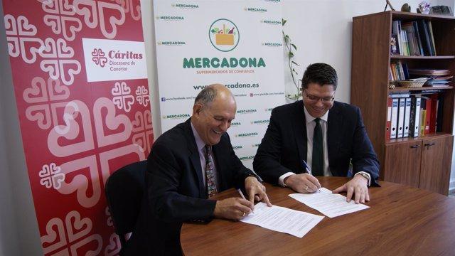 Firma del convenio entre Mercadona y Cáritas