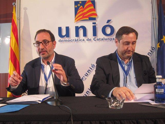 El secretario general de UDC, Ramon Espadaler, y Josep Maria Pelegrí