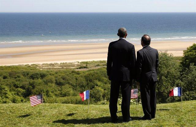Obama y Hollande, en los actos por el aniversario del Desembarco de Normandía