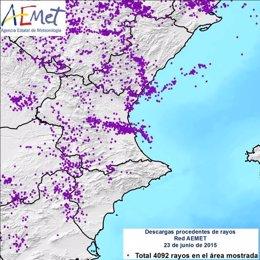 Rayos caídos en la Comunitat Valenciana