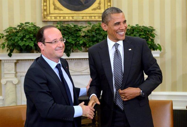 Hollande Y Obama Antes De La Cumbre Del G8