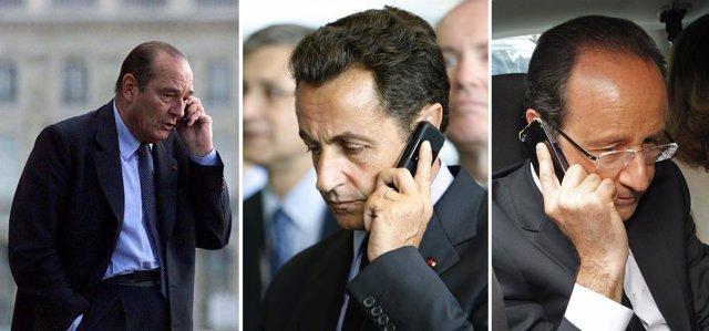 François Hollande, Nicolas Sarkozy y Jacques Chirac