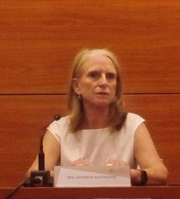 Katryn Gustafson en rueda de prensa en la UPV