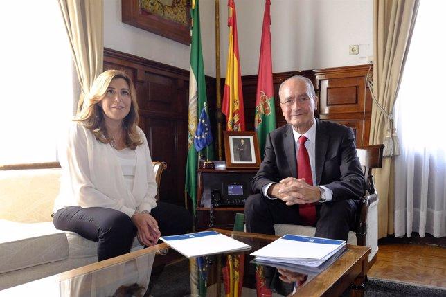 Susana Díaz y Francisco de la Torre se reúnen en el Ayuntamiento Málaga