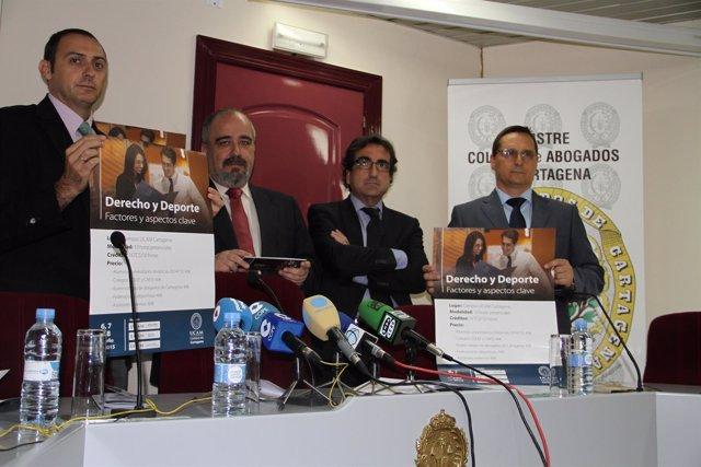 García, Muelas, De la Torrey Sánchez Pato presentan el curso 'Derecho y deporte'