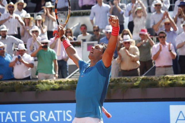 Rafa Nadal celebra su triunfo ante Dimitrov