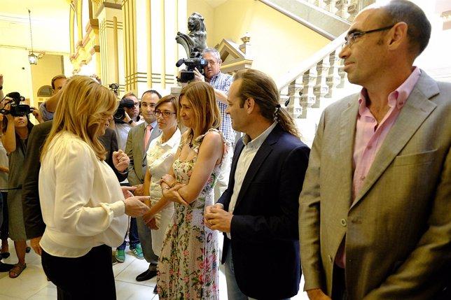 Cortés, Gámez, Torralbo, Cassá y Zorrilla con Susana Díaz en Ayuntamiento Málaga