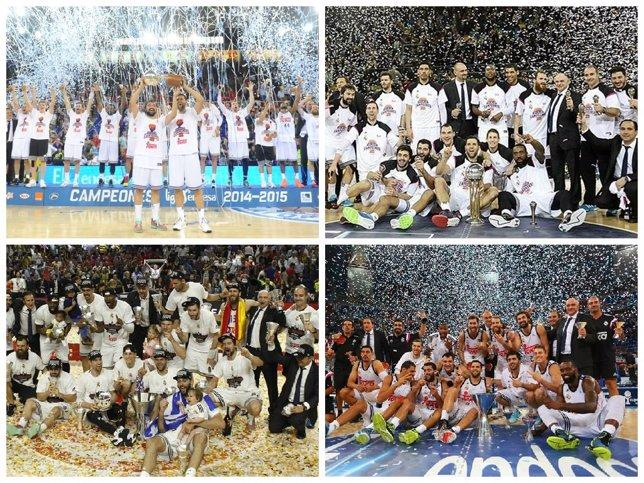 Montaje de los cuatro títulos del Real Madrid de baloncesto, el 'póquer'