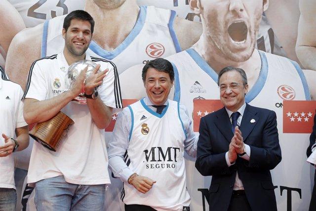 Felipe Reyes, Ignacio González y Florentino Pérez