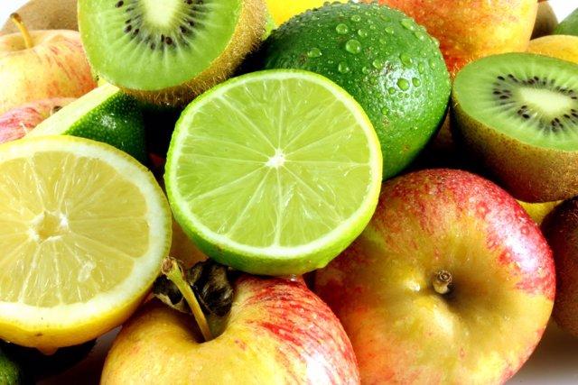 Frutas, cítricos, limón, manzana, lima, kiwi