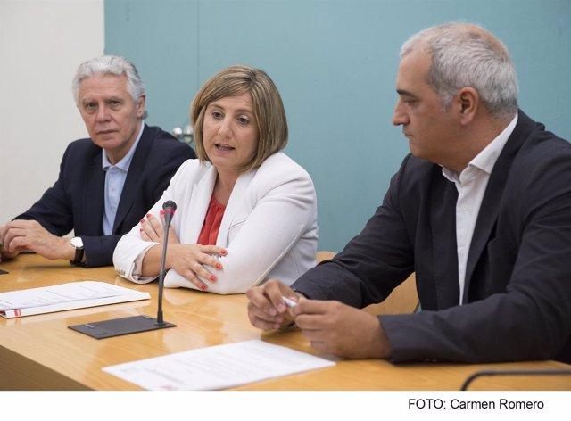 Menacho, García y Ruiz en rueda de prensa en Diputación