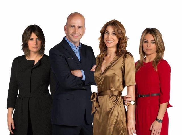 Los periodistas de TV3 A.Oltra, X.Coral, H.G.Melero y N.Solé.