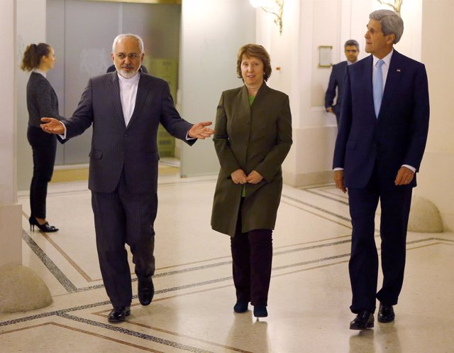 John Kerry, Javad Zarif y Catherine Ashton