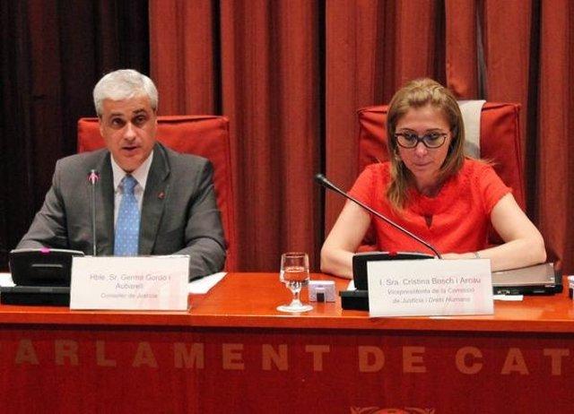 El conseller G.Gordó y la diputada Cristina Bosch (CiU).