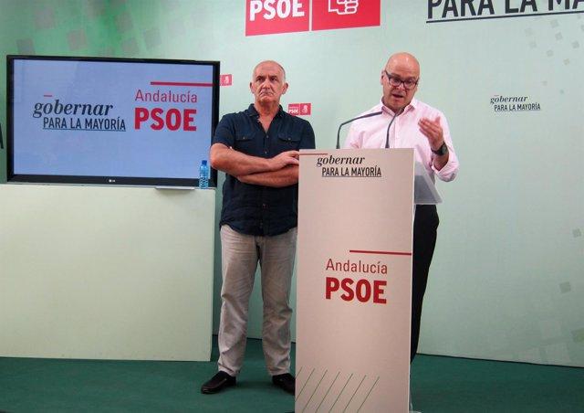 Manuel Fernández (d), acompañado por Rafael Latorre, presenta el plan.