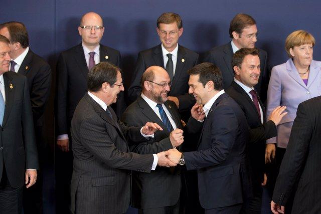 Alexis Tsipras, Nicos Anastasiades y Martin Schulz
