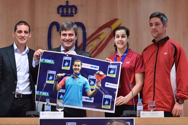Carolina Marín, Miguel Cardenal, David Cabello y Fernando Rivas