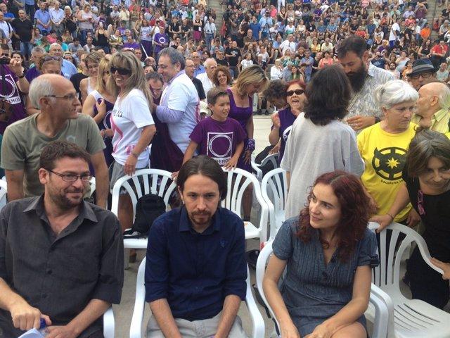 Albano Dante Fachín, Pablo Iglesias, Gemma Ubasart (Podemos)