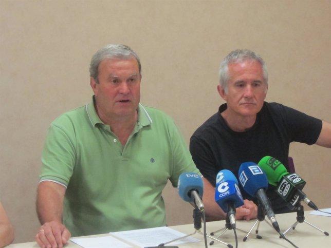 Luis Blanco del Comité de Empresa de Renfe y Alberto Ramos del de Adif.