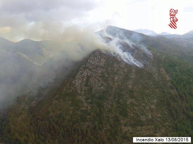 Incendio forestal en Xaló