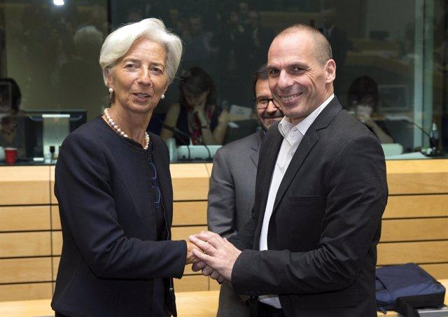 Christine Lagarde, y el ministo de Finanzas griego, Yanis Varoufakis