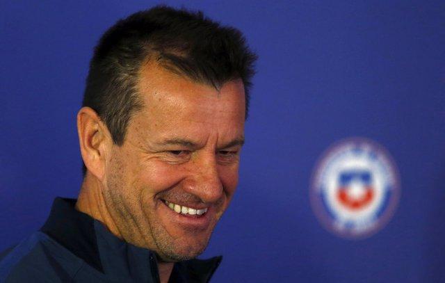Brazilian soccer team head coach Dunga attends a news conference at Estadio Monu