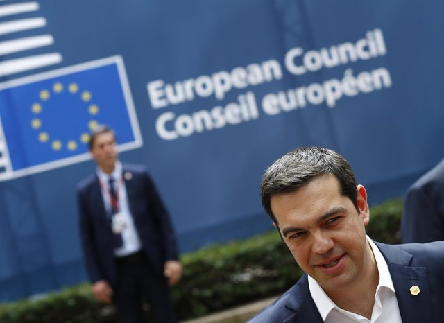 Greek Prime Minister Tsipras speaks to media on arrival at EU Council headquarte
