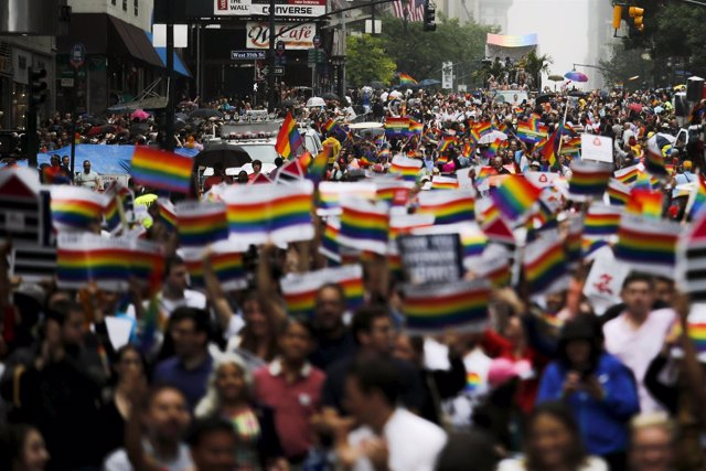 People march down 5 Av during the annual Gay Pride parade in New York
