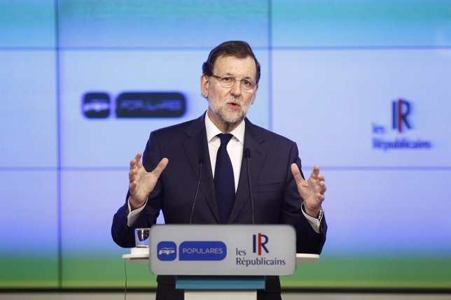 Mariano Rajoy en la sede del PP
