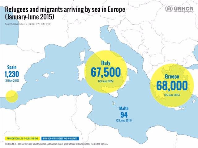 Informe de ACNUR sobre emigración en el Mediterráneo 2015