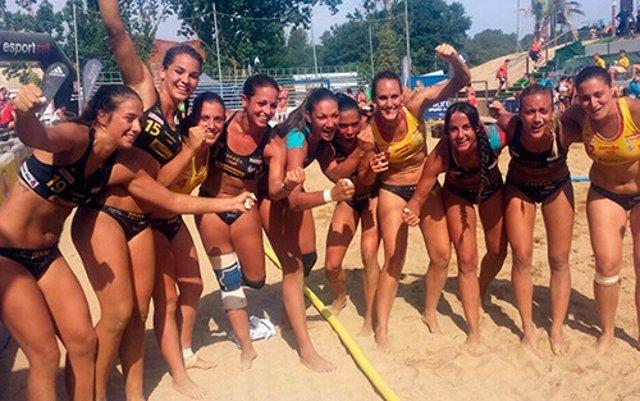 La selección española de balonmano playa en el Europeo de Lloret