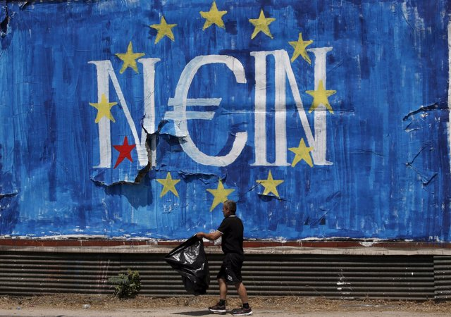 Graffiti a favor del 'no' en Grecia