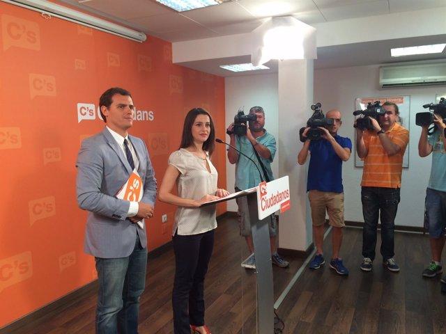 Los candidatos de C's a catalanas y generales, Inés Arrimadas y Albert Rivera