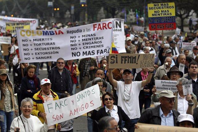 Manifestación contra la impunidad en el proceso de paz de Colombia.