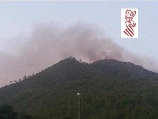 Imagen del incendio de Montán