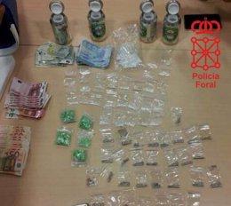 Las sustancias intervenidas al detenido en el camping de Ezkaba.